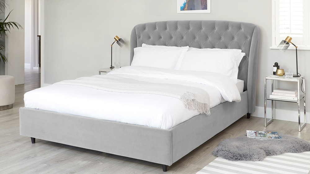 Manolo Feather Grey Velvet Double Bed With Storage