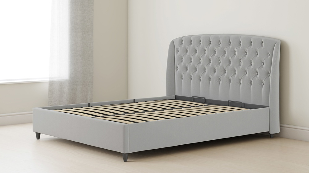 tufted velvet double bed with lift up storage
