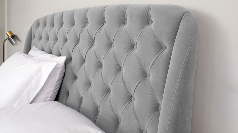 velvet buttoned back bed with storage