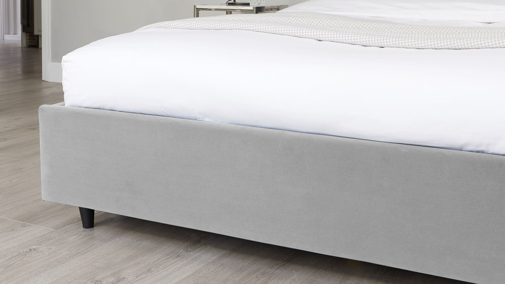 grey velvet ottoman bed with buttoning