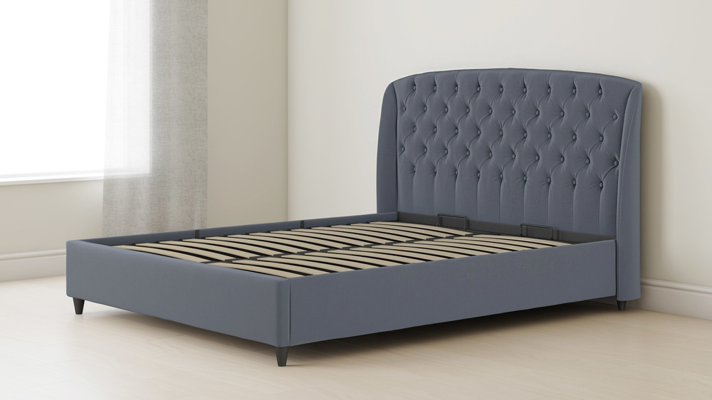 tufted ottoman double bed