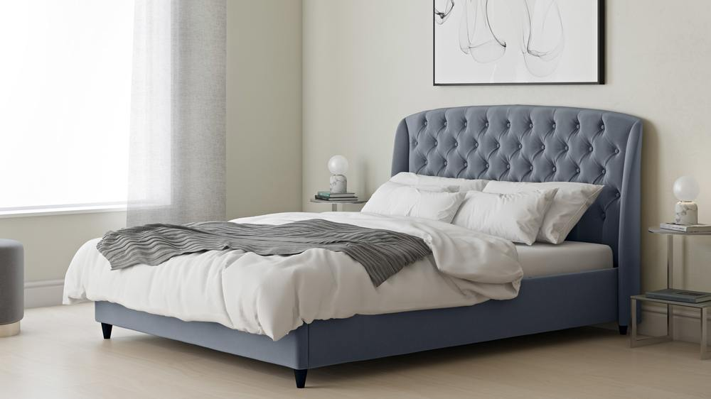 tufted grey ottoman double