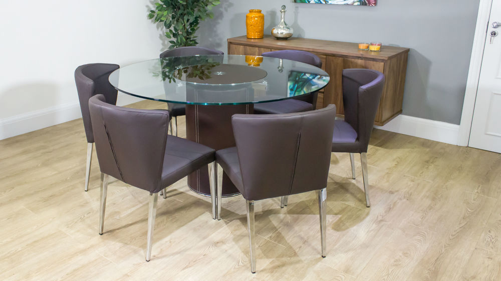 Round Glass Dining Table Spinning Glass Centre Faux Leather Dining Chairs