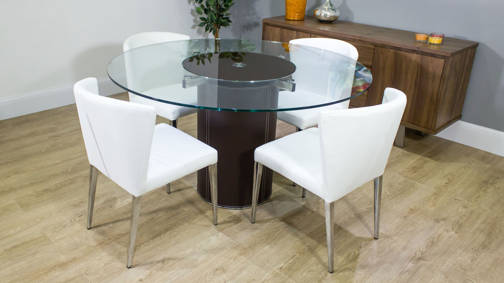 Round glass dining table spinning glass centre faux for 10 seater glass dining table and chairs