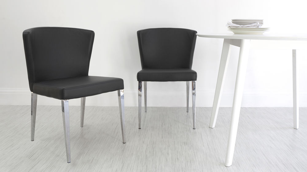 Black Faux Leather Chairs Grey Dining