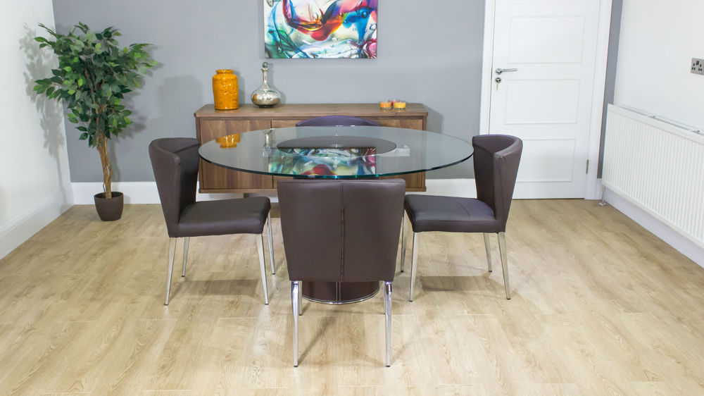 Round Glass Dining Table Spinning Centre Faux