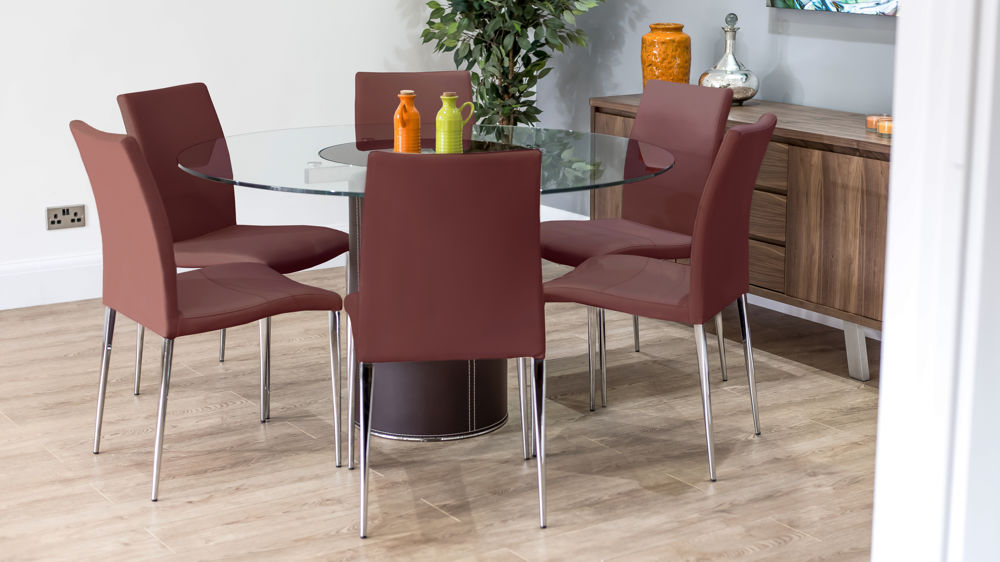 Terrific Mario Glass And Brown Leather And Elise Dining Set Camellatalisay Diy Chair Ideas Camellatalisaycom