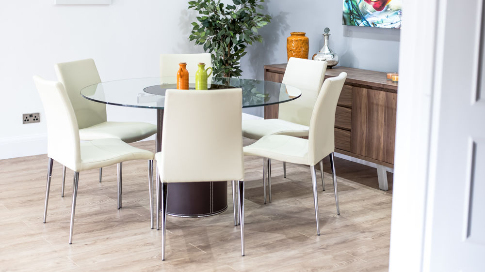 Round Glass Dining Table with Spinning Centre Faux  : mario glass and brown leather and elise dining set 2 from www.danetti.com size 1000 x 562 jpeg 76kB