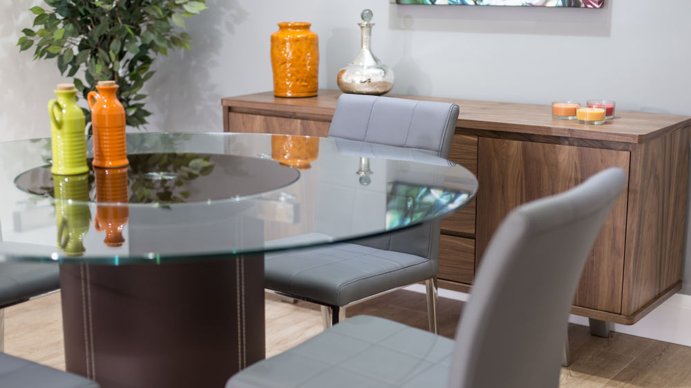 Modern Round Glass Dining Table Quilted Faux Leather