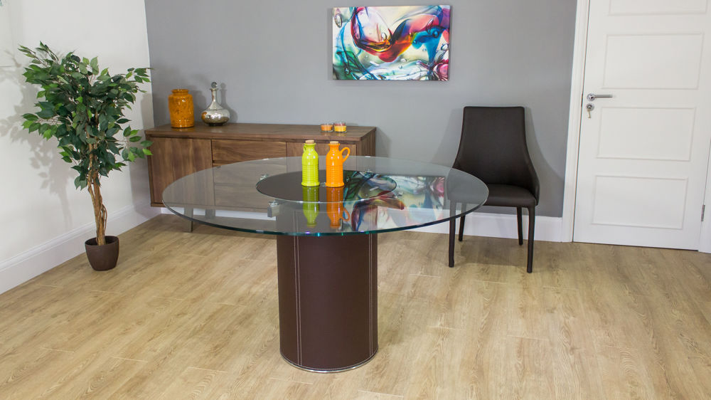 Modern Round Glass Dining Table Brown Leather Pedestal Seats 5