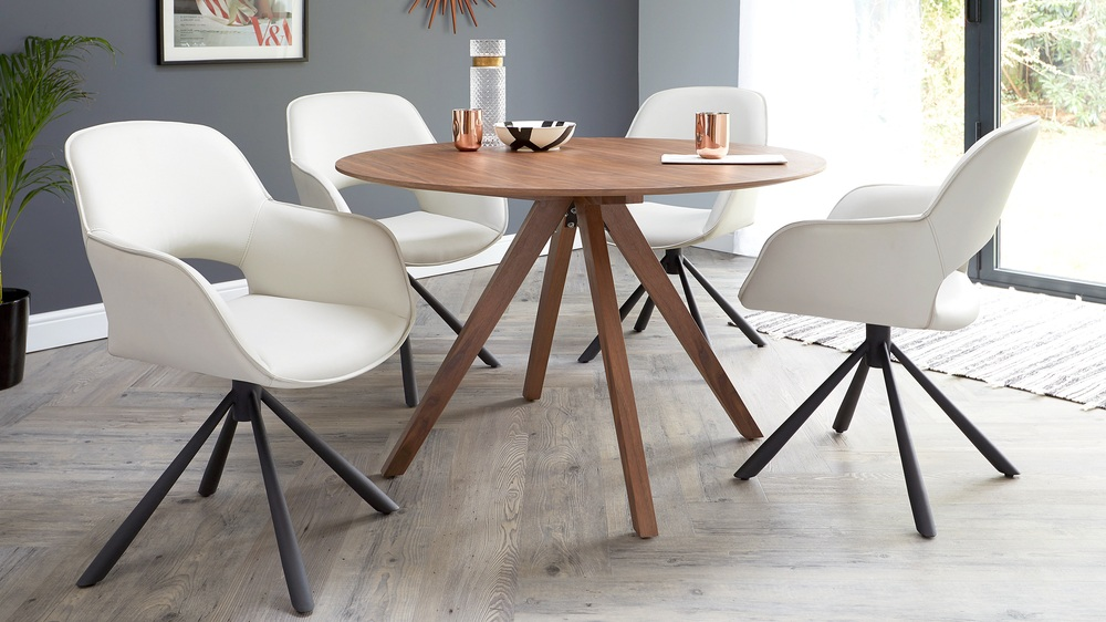 Large modern faux leather dining chairs