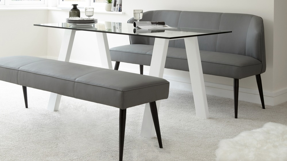 Backless 3 Seater Dining Bench | Leather Bench Chrome Legs