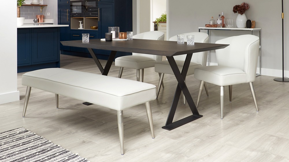 Faux leather dining benches