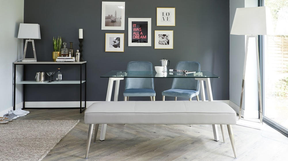 light grey faux leather dining bench with stainless steel bench