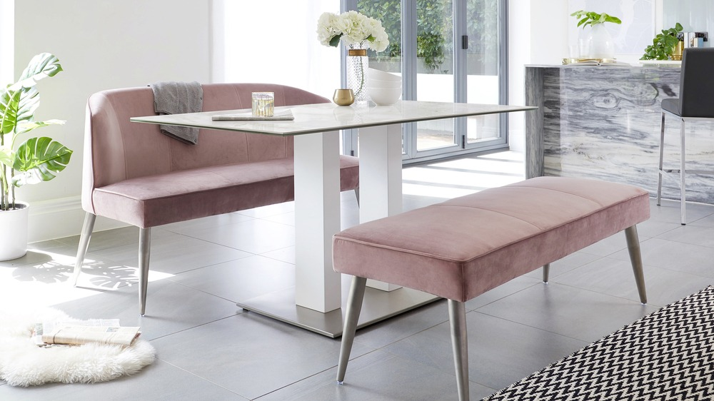 modern velvet backless dining benches