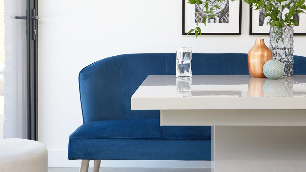 modern dining bench with a backrest