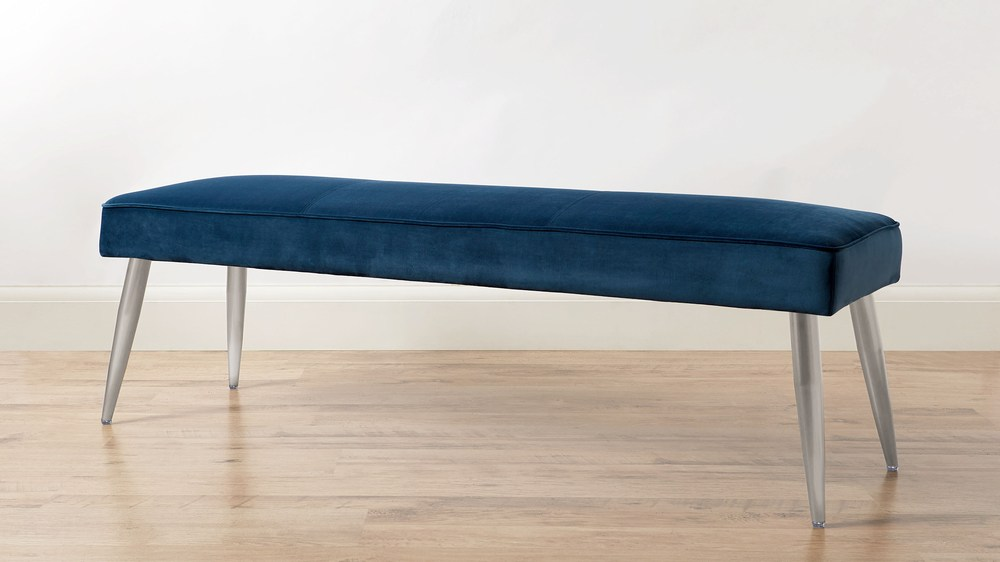 Mellow Dark Blue Velvet 3 Seater Bench Without Backrest
