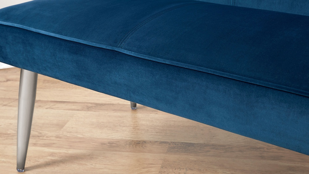 Mellow Dark Blue Velvet 3 Seater Backless Bench