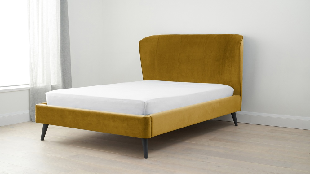 Yellow velvet double bed