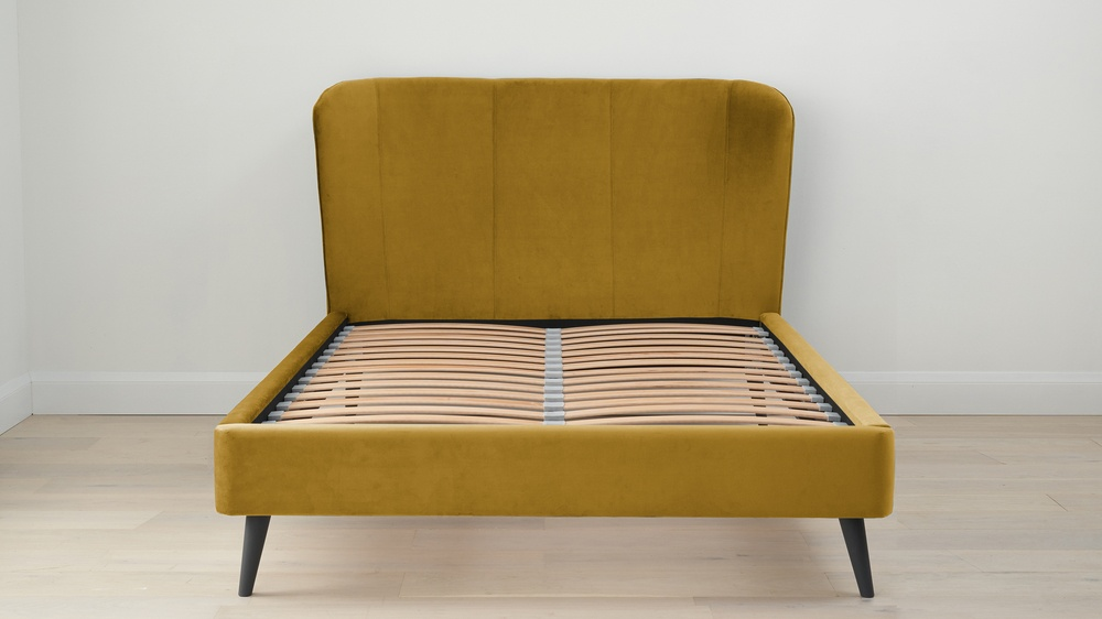 Golden velvet double bed