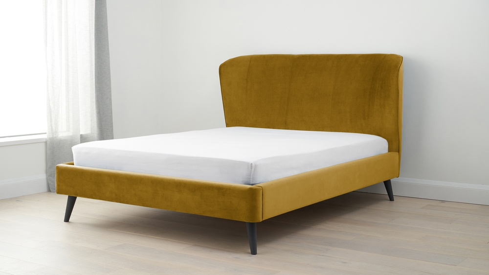 Yellow velvet kind size bed