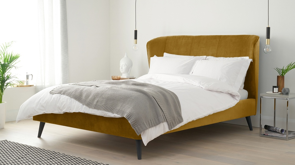 Yellow velvet mustard bed