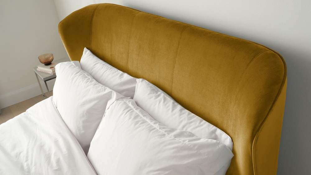 Gold velvet super king bed
