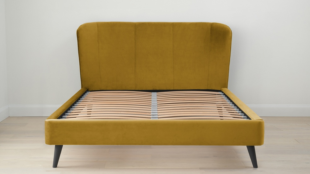 Buy ochre coloured velvet beds