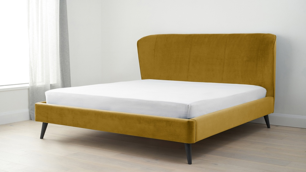 Buy super king golden velvet bed online