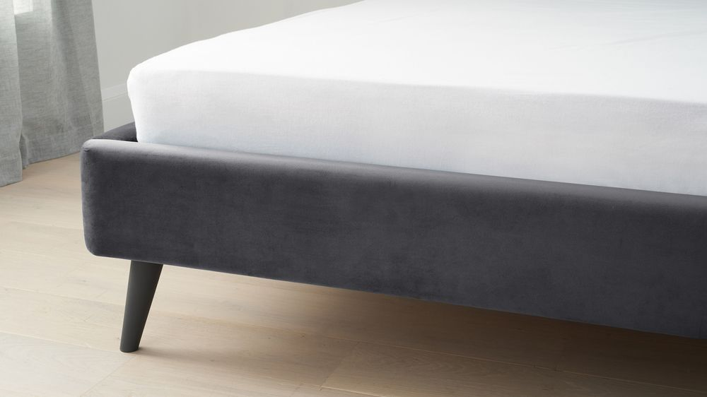 Buy dark grey velvet bed online
