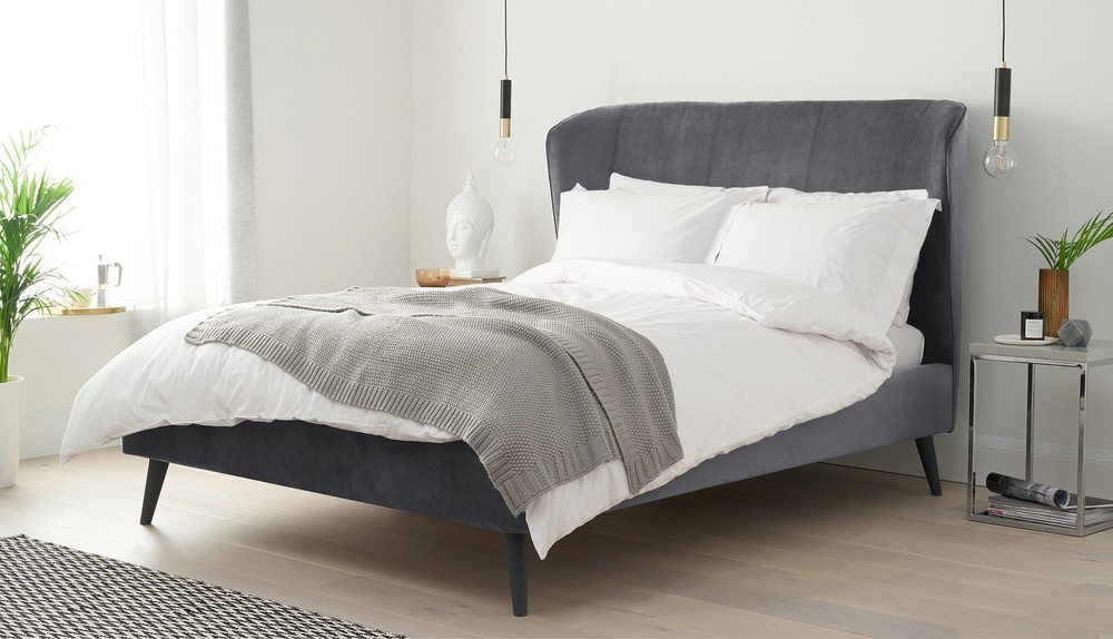 Grey velvet double bed