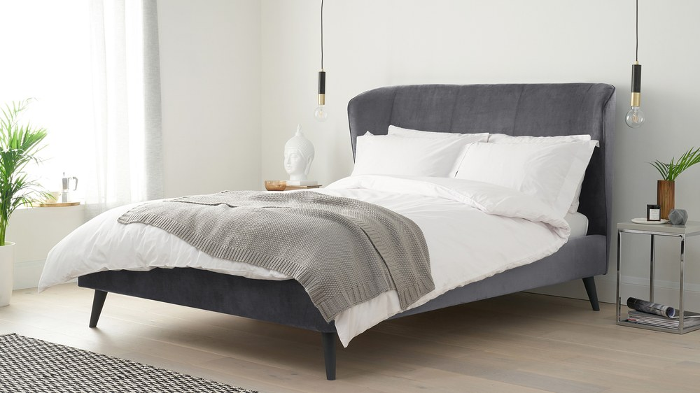 Dark grey velvet super king bed