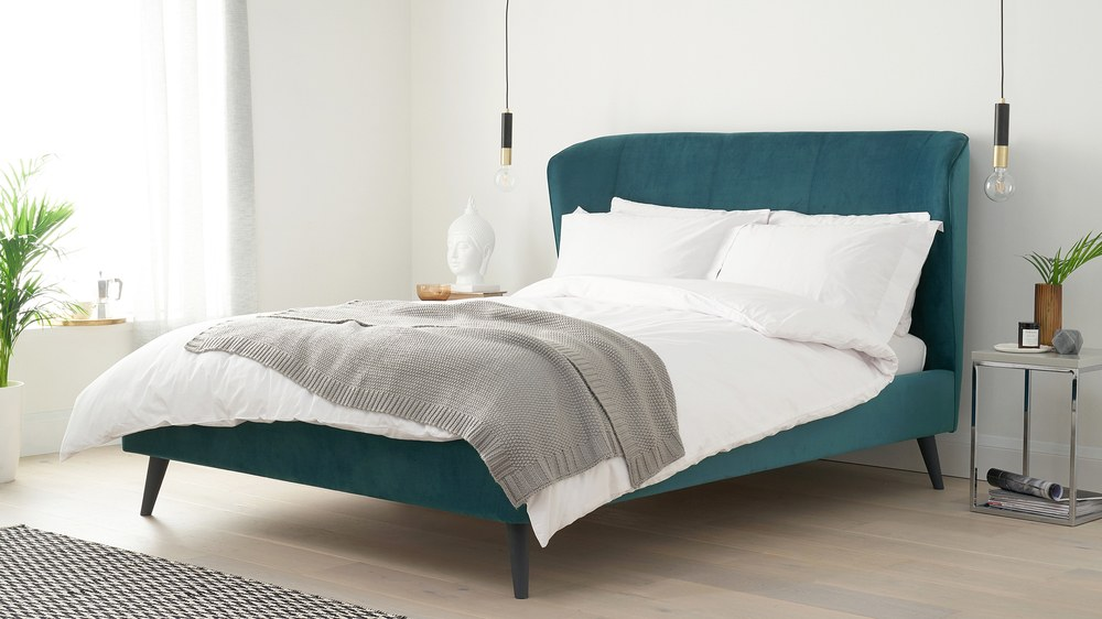 Teal mellow velvet double size bed