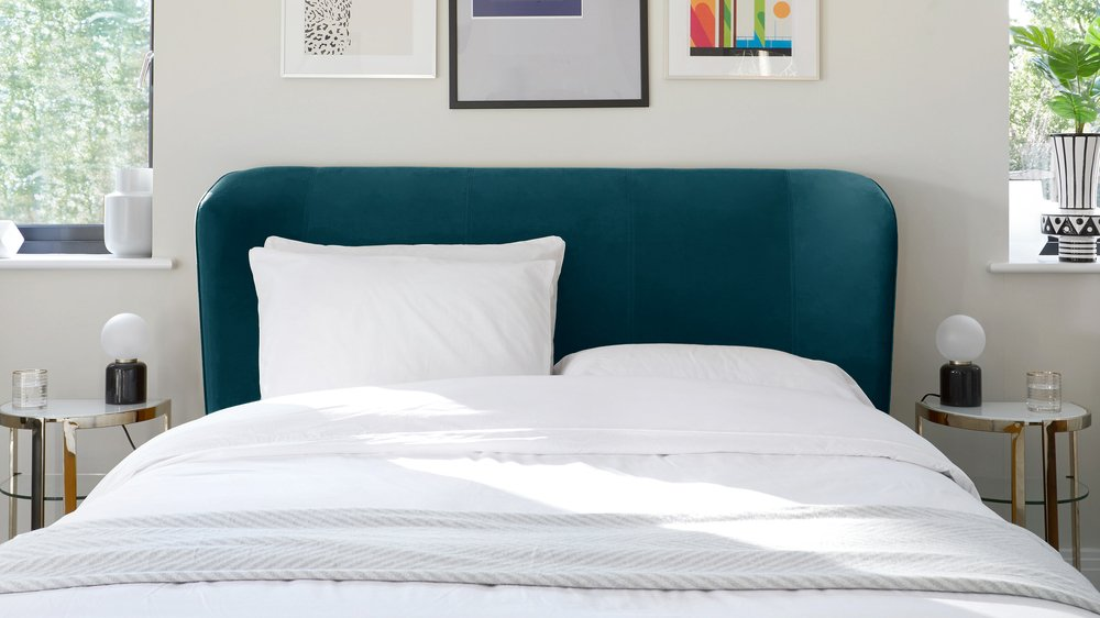 teal blue bed