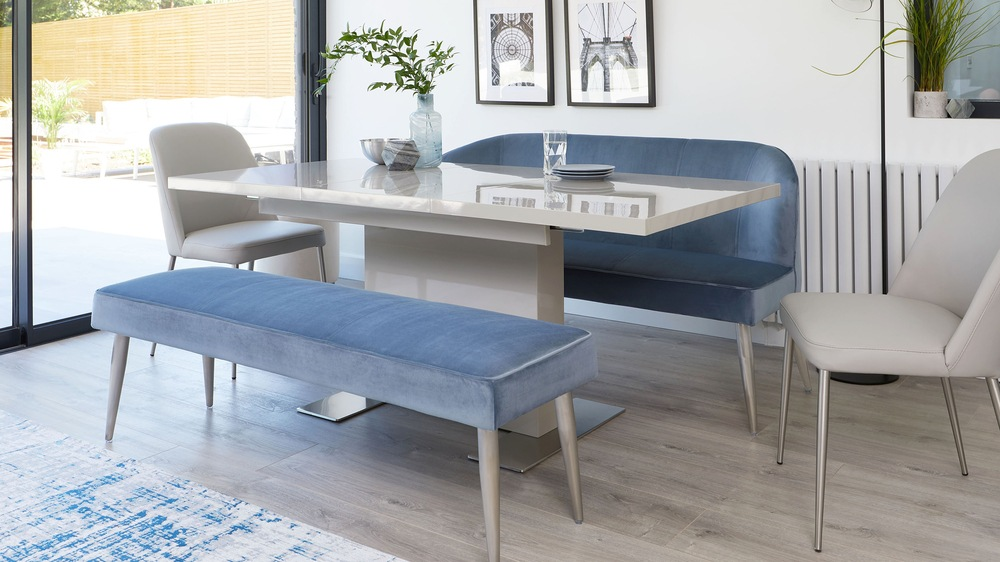 Mellow 3 Seater Grey Velvet Dining Bench Without Backrest