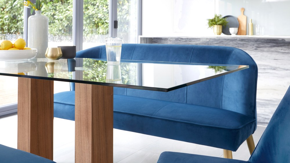 deep blue velvet benches