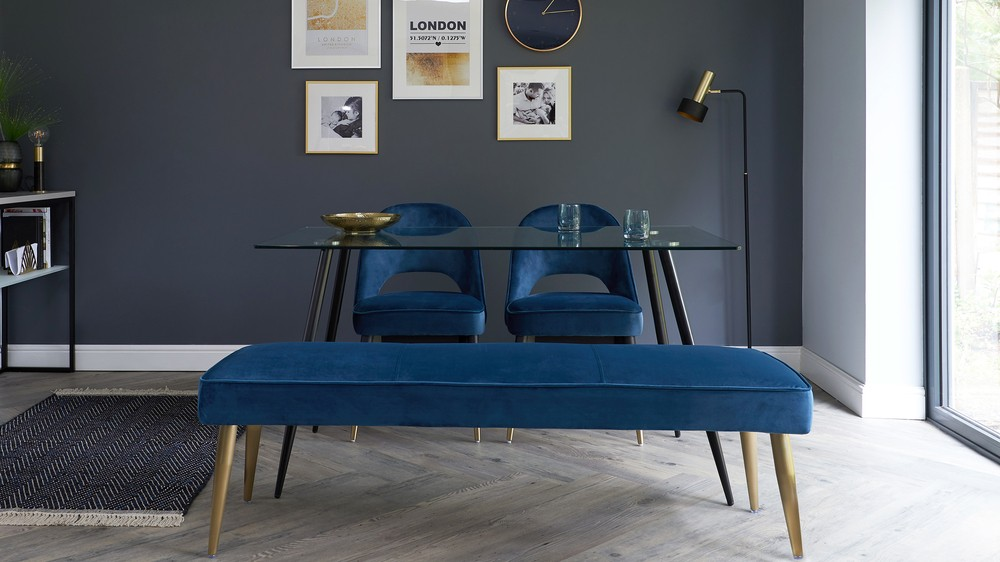 deep blue velvet furniture