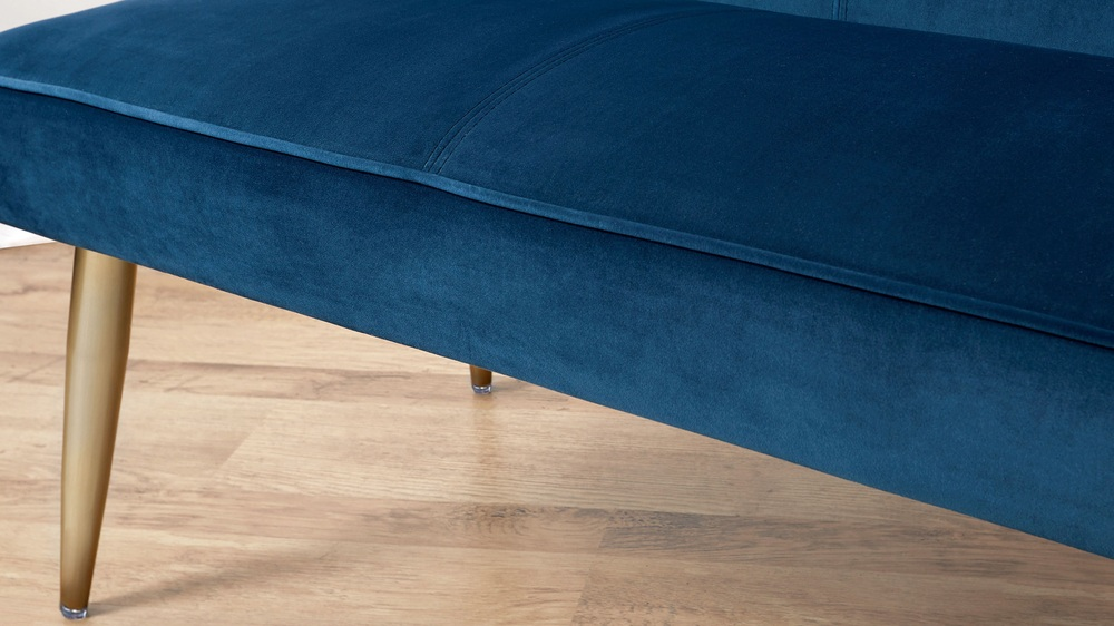 Blue velvet and brass leg benches