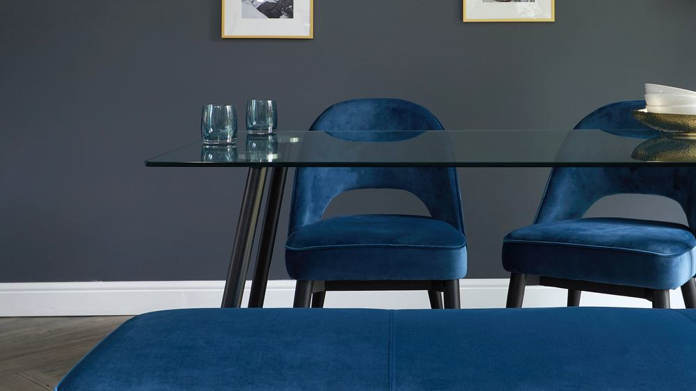 dark blue velvet dining bench