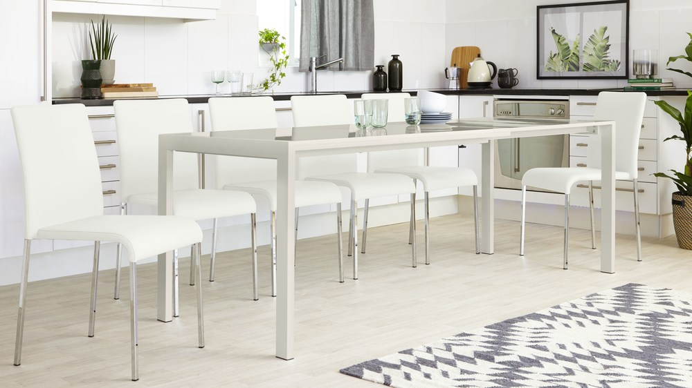 Grey Gloss Extending Dining Table Set