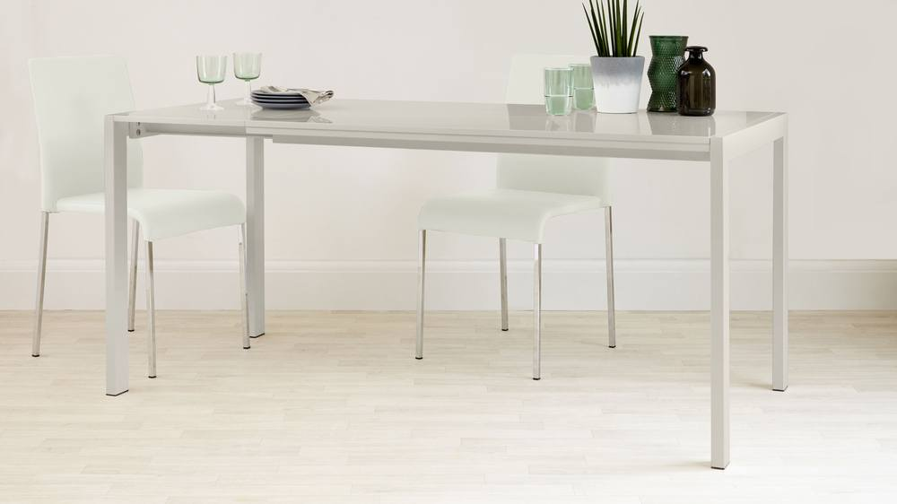 Stackable Faux Leather and Gloss Extending Table