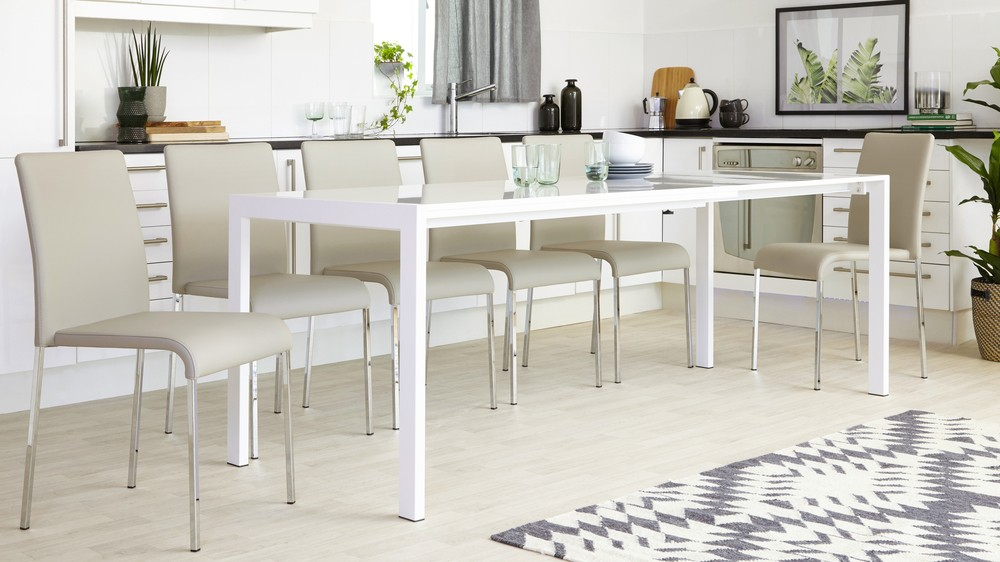 white gloss extending dining table seats up to 10