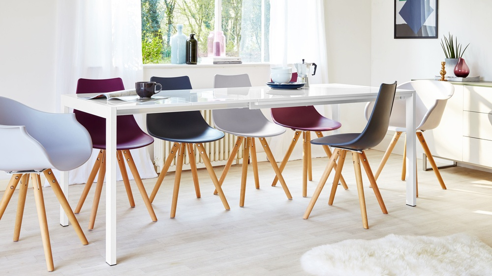 Metro White Gloss extending multicoloured dining set