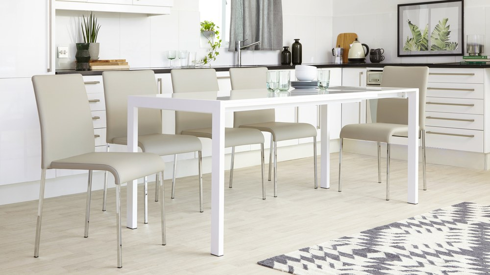 8 seater white gloss extender table