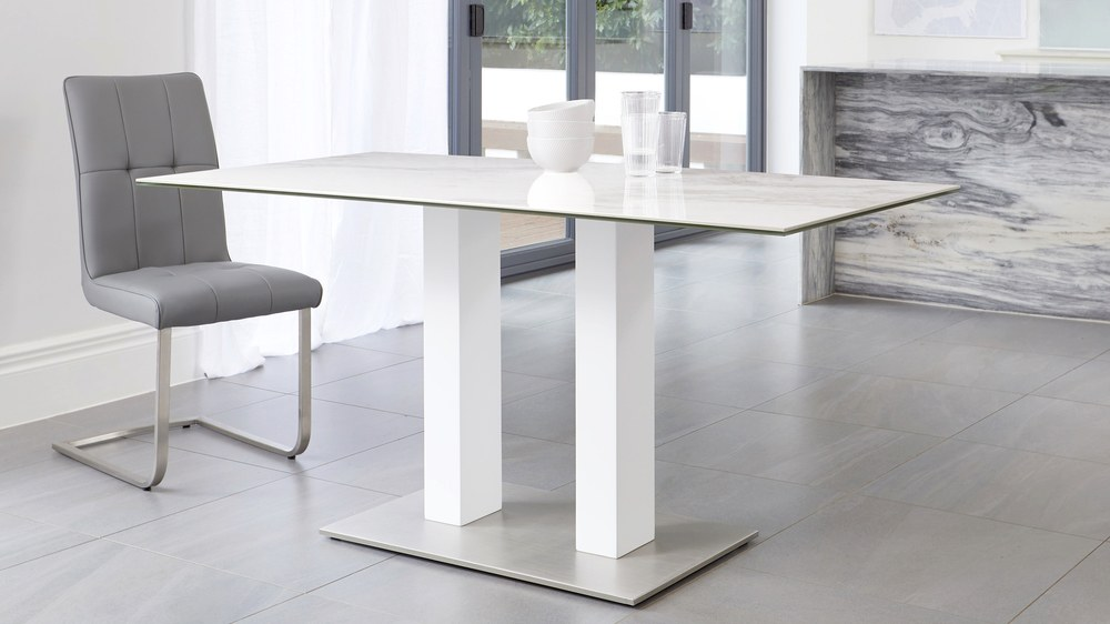 white ceramic marble table