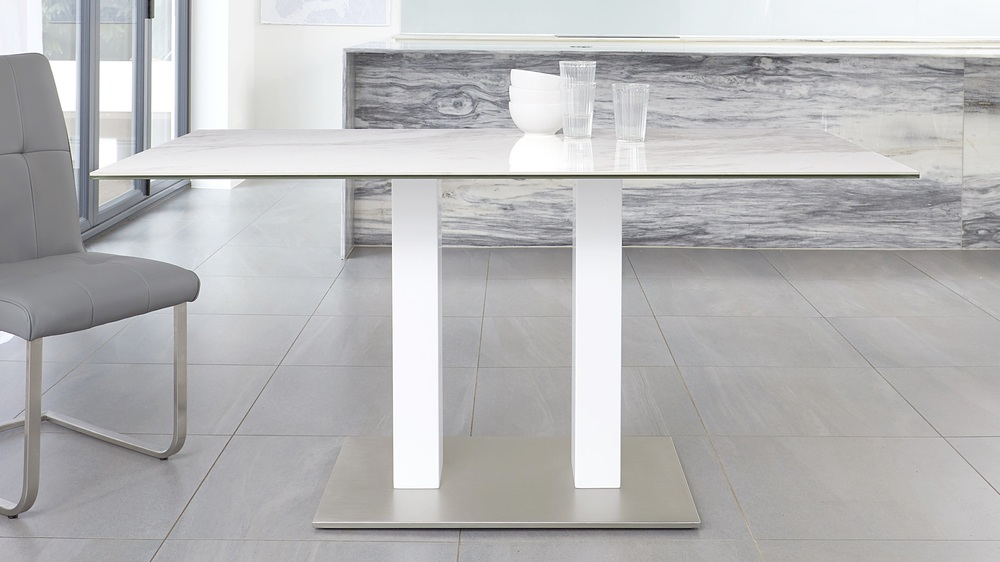 table with stainless steel base