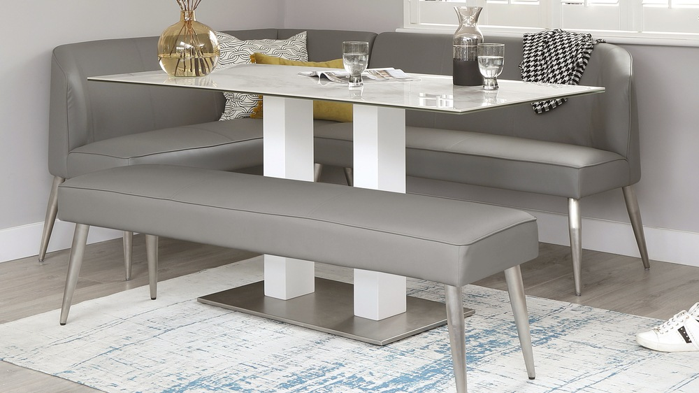 Mia Ceramic Marble Table with Mellow Right Hand Corner Bench Set