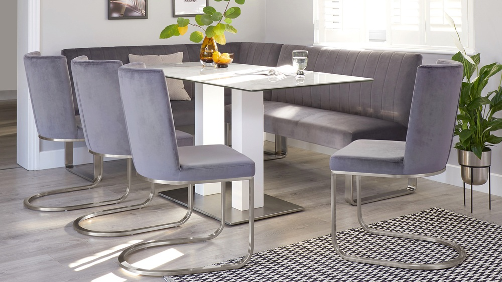 modern corner bench set with chairs
