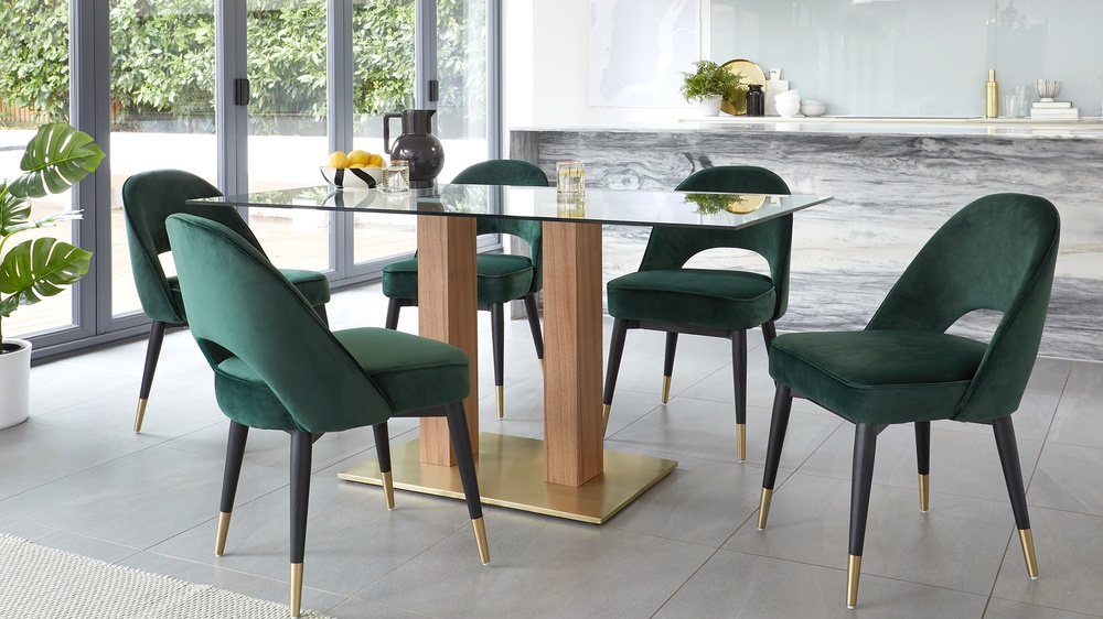 glass and wooden table dining sets