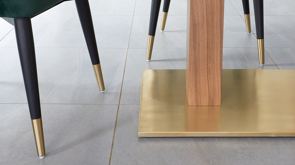 brass and wooden tables
